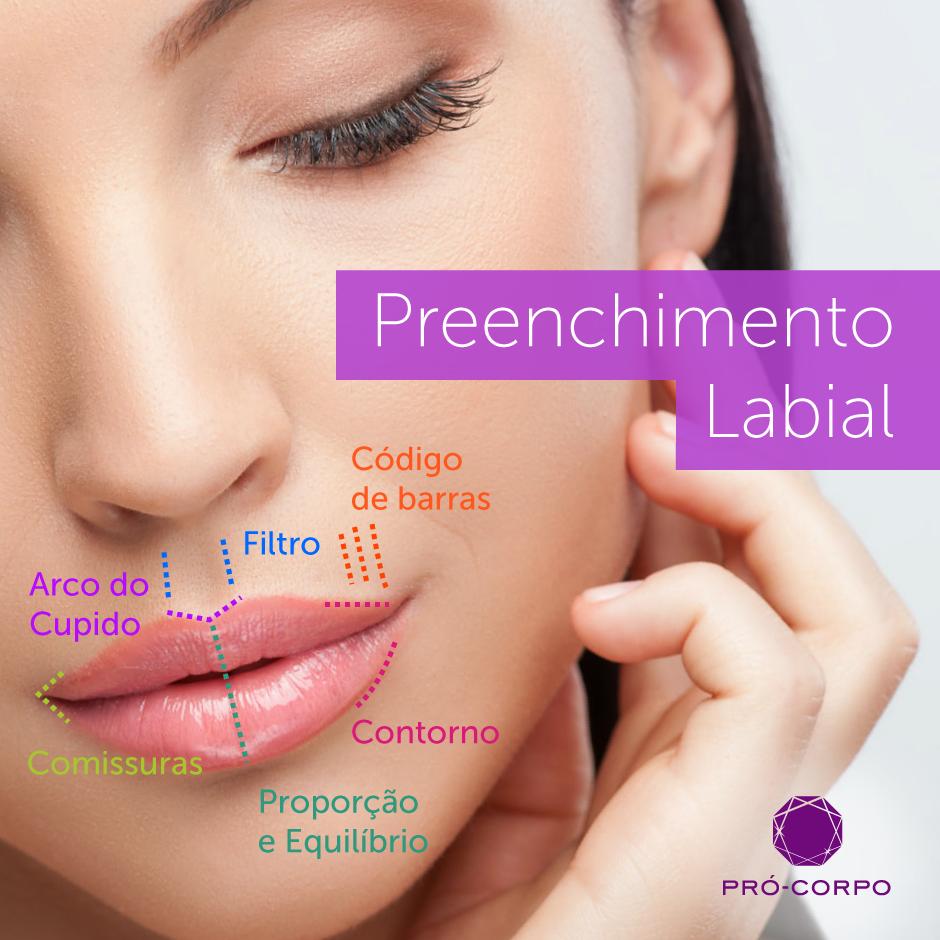 Áreas de aplicação do Preenchimento Labial com ácido hialurônico para realçar o contorno e volumizar os lábios