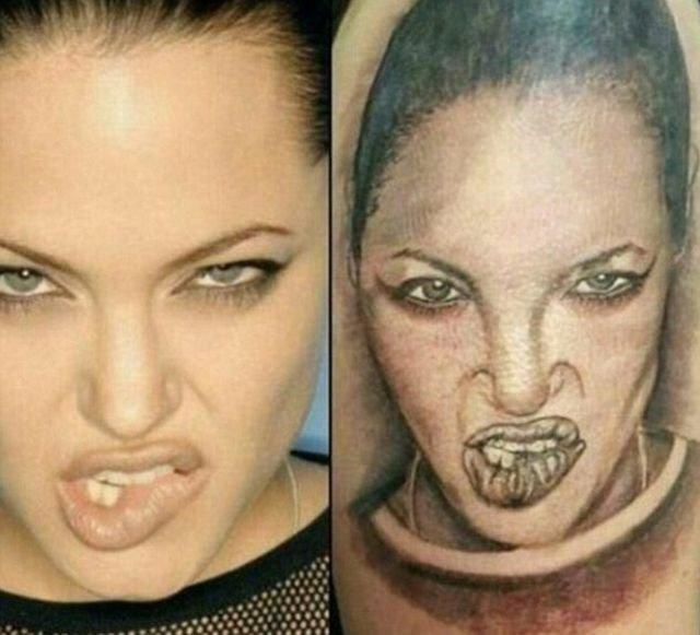 Um fã que tatuou o rosto de Angelina Jolie. O que acharam? (Foto: Reprodução)
