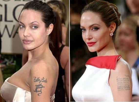 Poucos se lembram, mas a atriz Angelina Jolie tinha um dragão com o nome do ex-marido, o ator Billy Thorton, em seu braço. Ao remover a tatuagem, ela tatuou as coordenadas geográficas dos locais onde seus filhos nasceram.